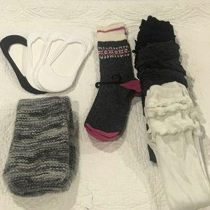 9 pair of socks/leg warmers